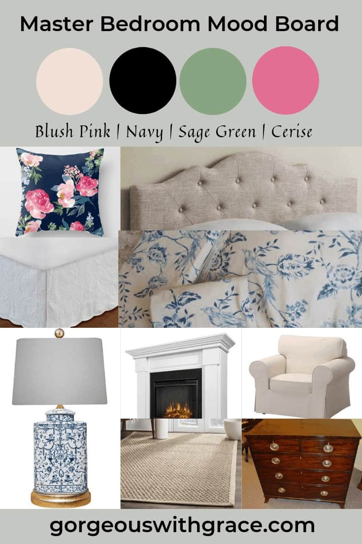 Blush Pink Navy Sage Green Cerise Color Scheme